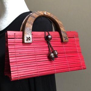 Red bamboo mini bag, VGUC